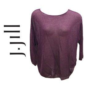 J Jill Size 2X Sweater Cranberry Purple Linen Plus